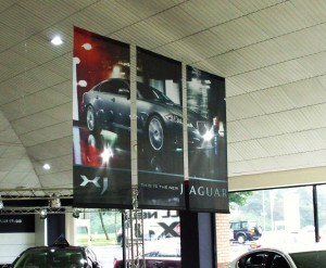 Hanging banners in textile or Vinyl. 'Blockout' material for one or two sided image.